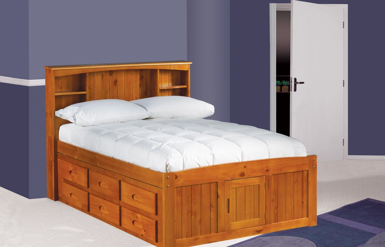 Full Size Captains Bed With Storage And Bookcase Headboard