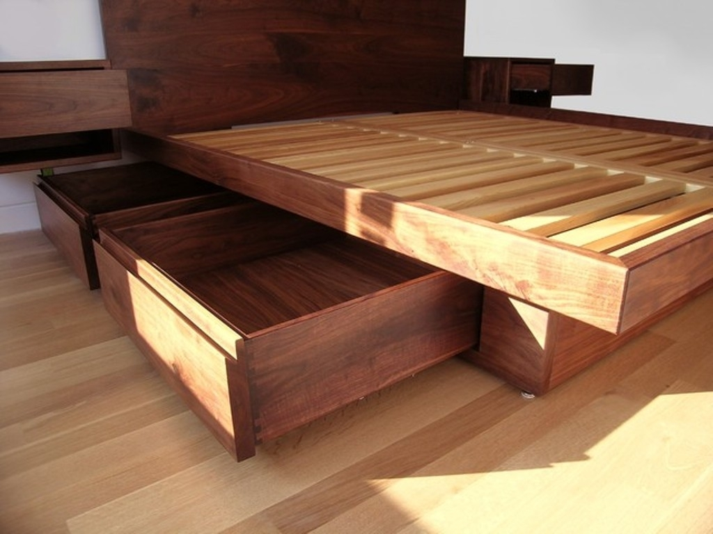 Image of: Great DIY Bed Frame with Storage