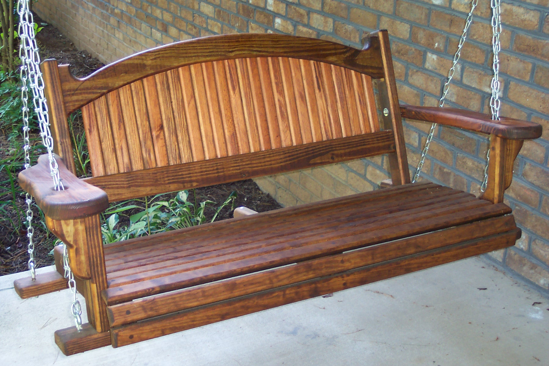 Picture of: Great Wooden Bench Swing