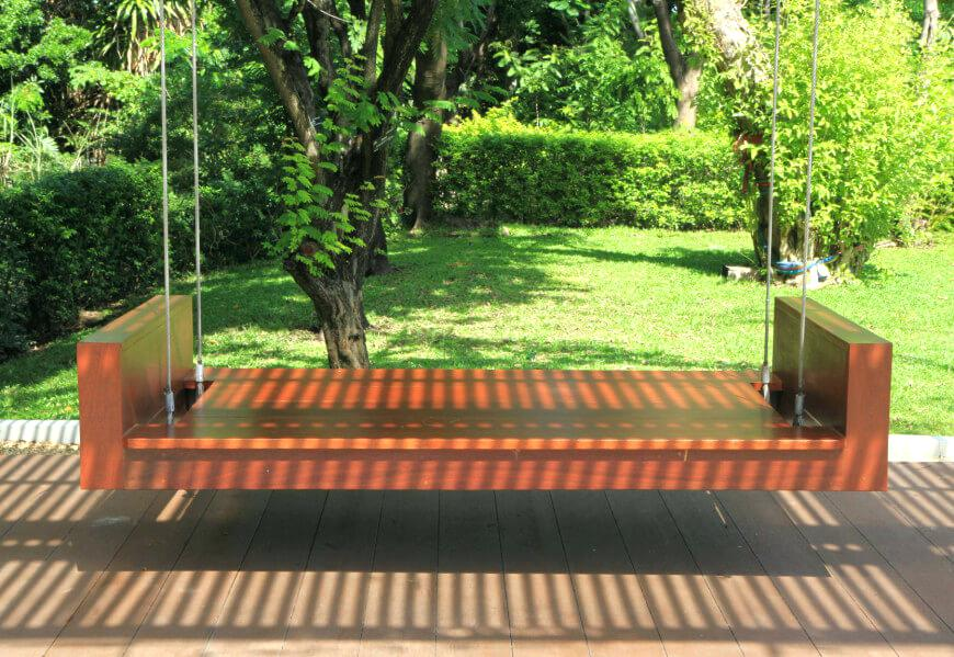 Picture of: Hanging Wooden Swing Bench