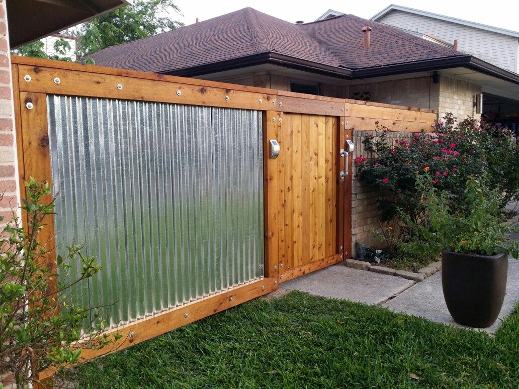 Image of: House Sheet Metal Fence
