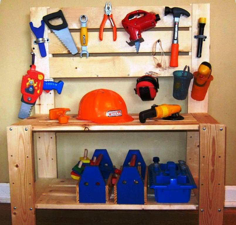 Picture of: Kids Wooden Tool Bench Idea