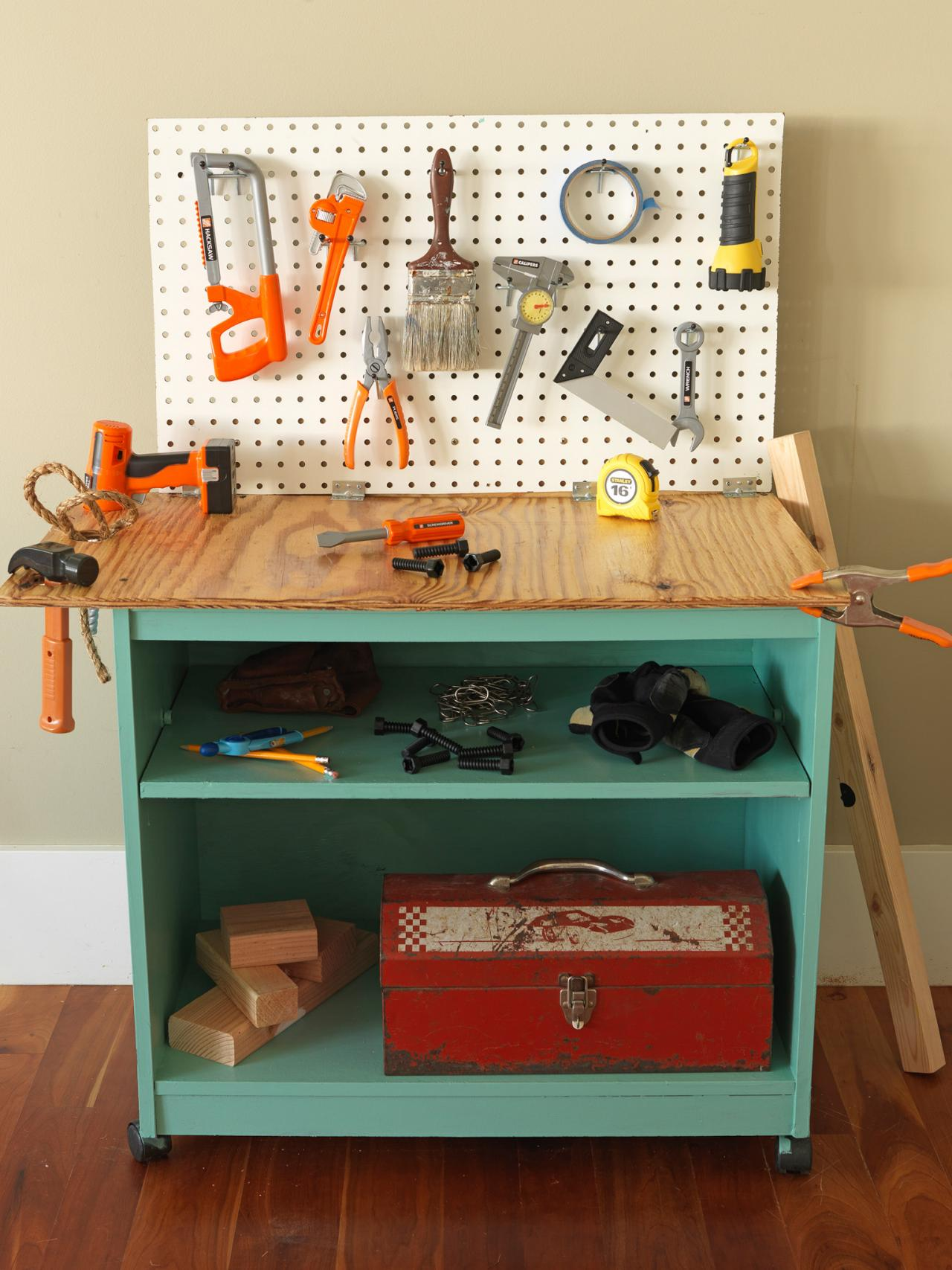Picture of: Kids Wooden Tool Bench on Wheel