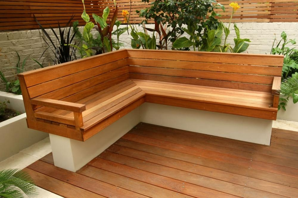 Picture of: L Wooden Porch Bench