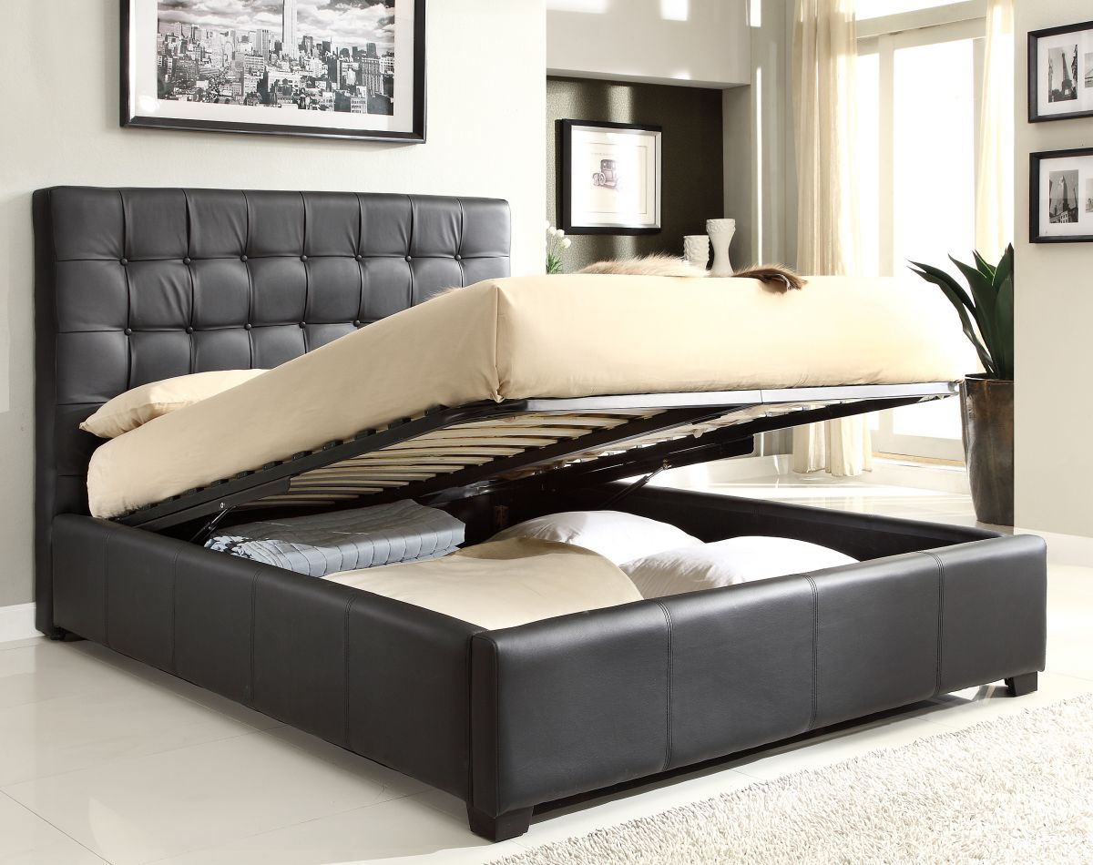 Image of: Leather DIY Platform Bed with Storage