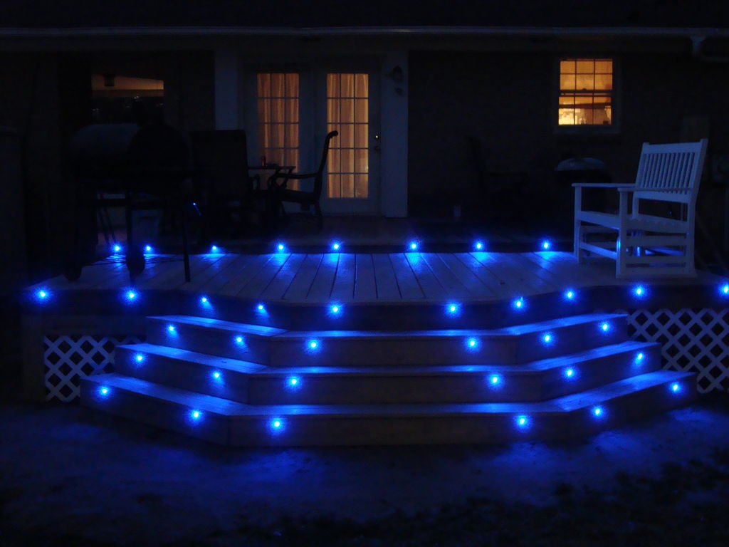 Picture of: Led Outdoor Step Lights Blue