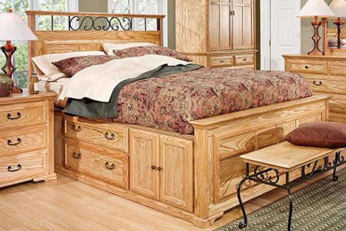 Log Full Size Captains Bed With Storage