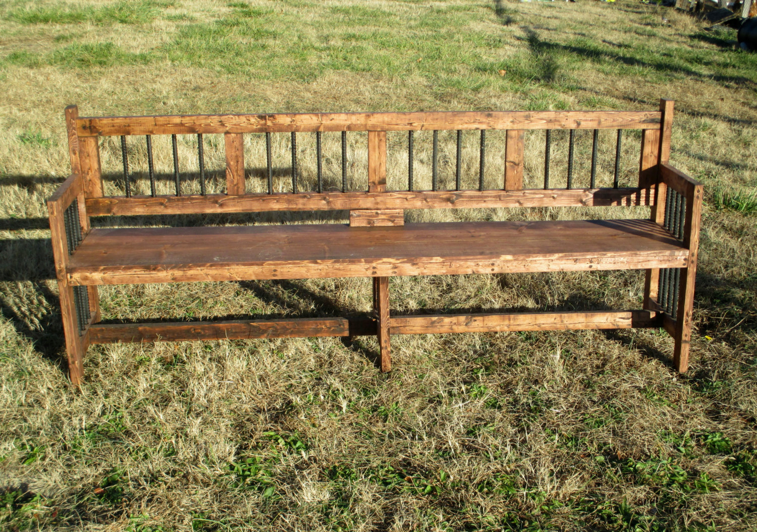 Picture of: Long Wooden Bench Back