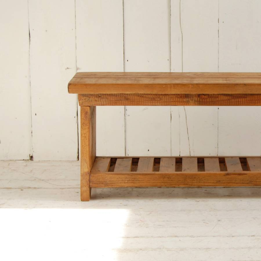 Picture of: Long Wooden Bench Shelves