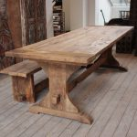 Long Wooden Bench and Table