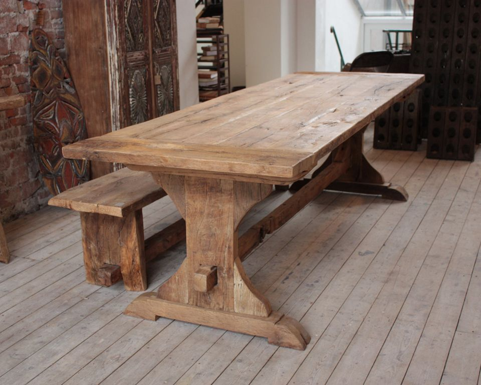 Picture of: Long Wooden Bench and Table