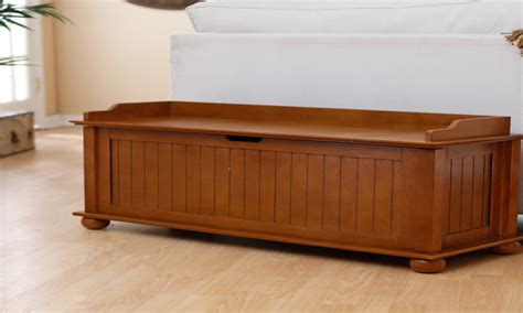 Picture of: Low Wooden Storage Bench
