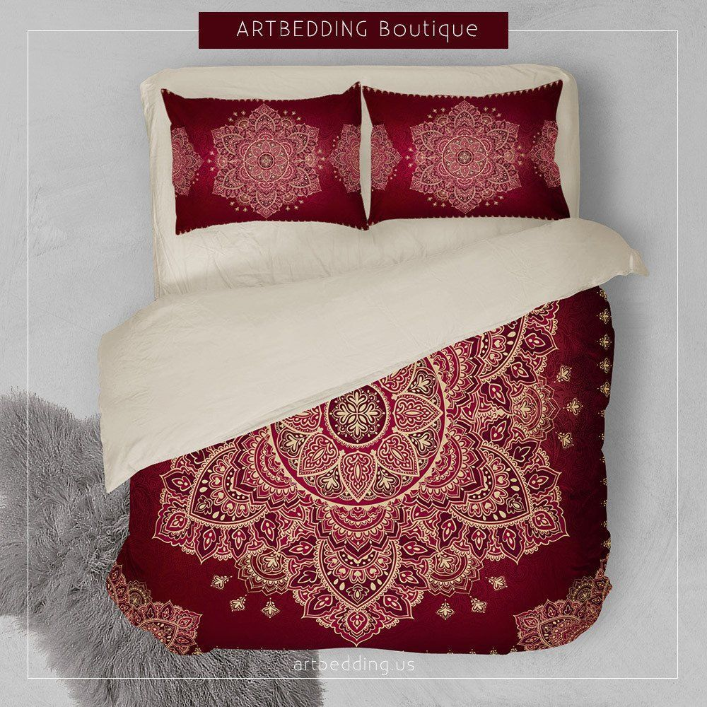 Picture of: Mandala Duvet Cover Red