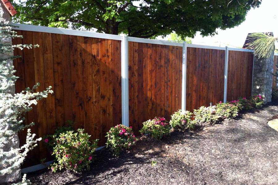 Picture of: Metal Fence Posts for Wood Fence Dark
