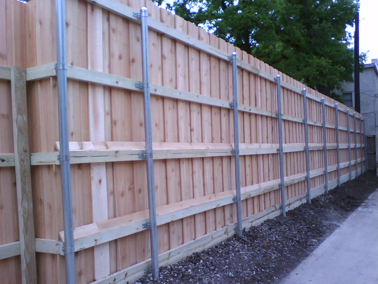 Picture of: Metal Fence Posts for Wood Fence Height