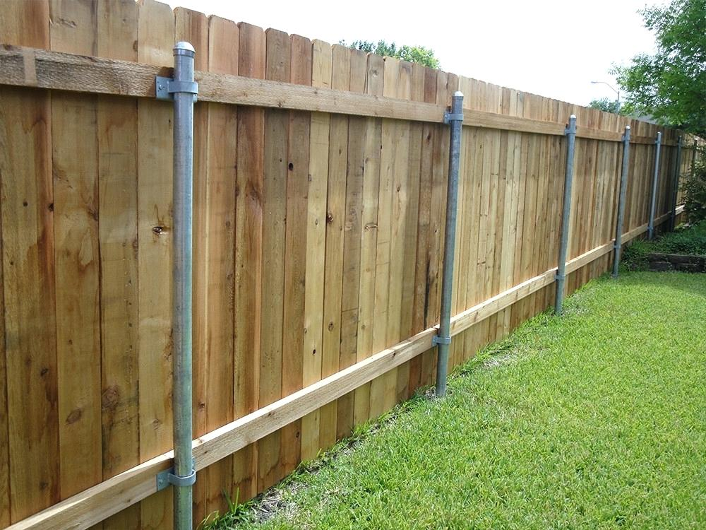 Picture of: Metal Fence Posts for Wood Fence Idea