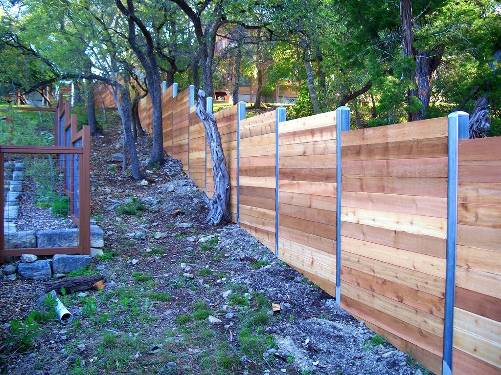 Picture of: Metal Fence Posts for Wood Fence Modern