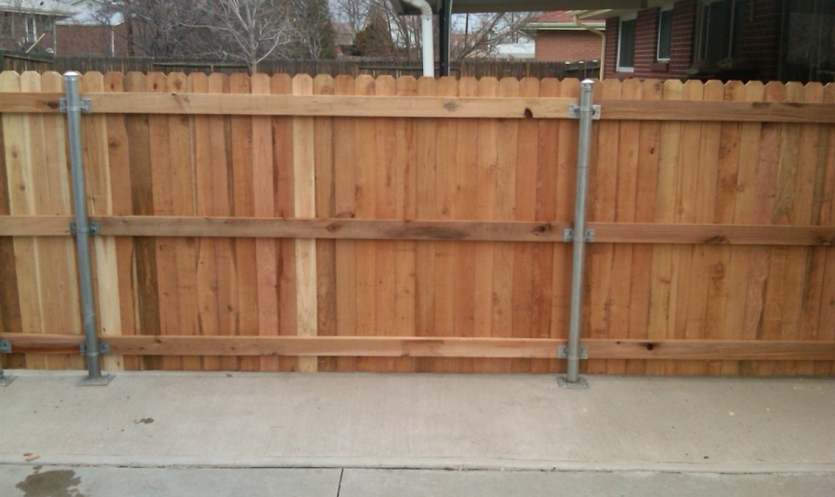 Picture of: Metal Fence Posts for Wood Fence Panel