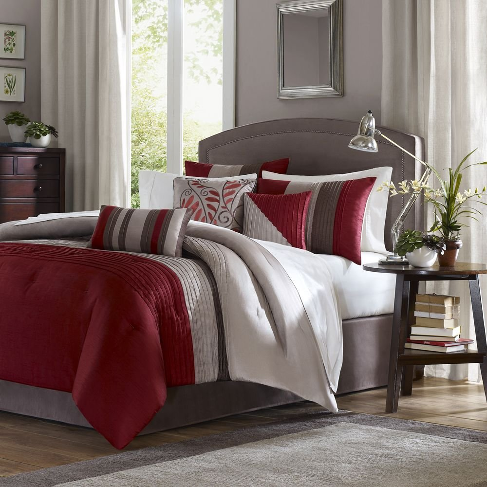 Minimalist Red And Gray Comforter Sets