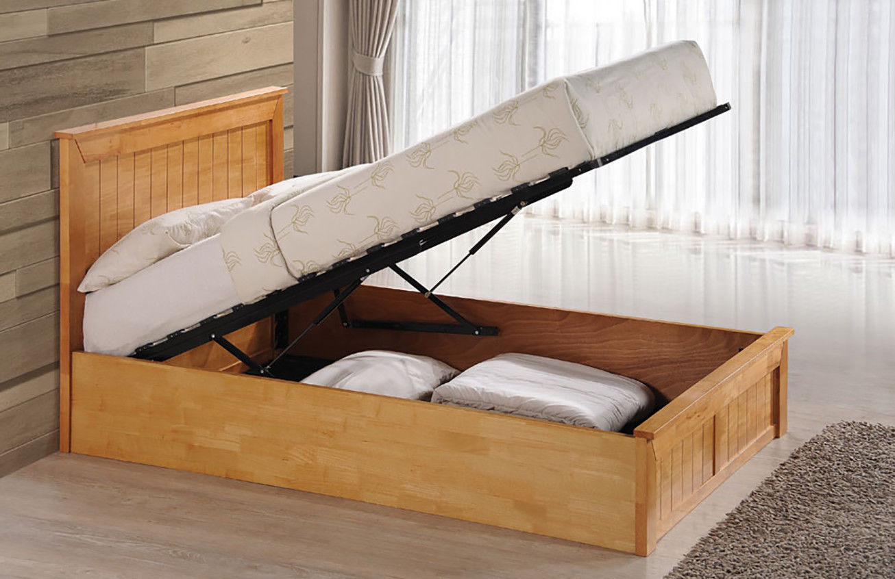 Image of: New Solid Wood Storage Bed