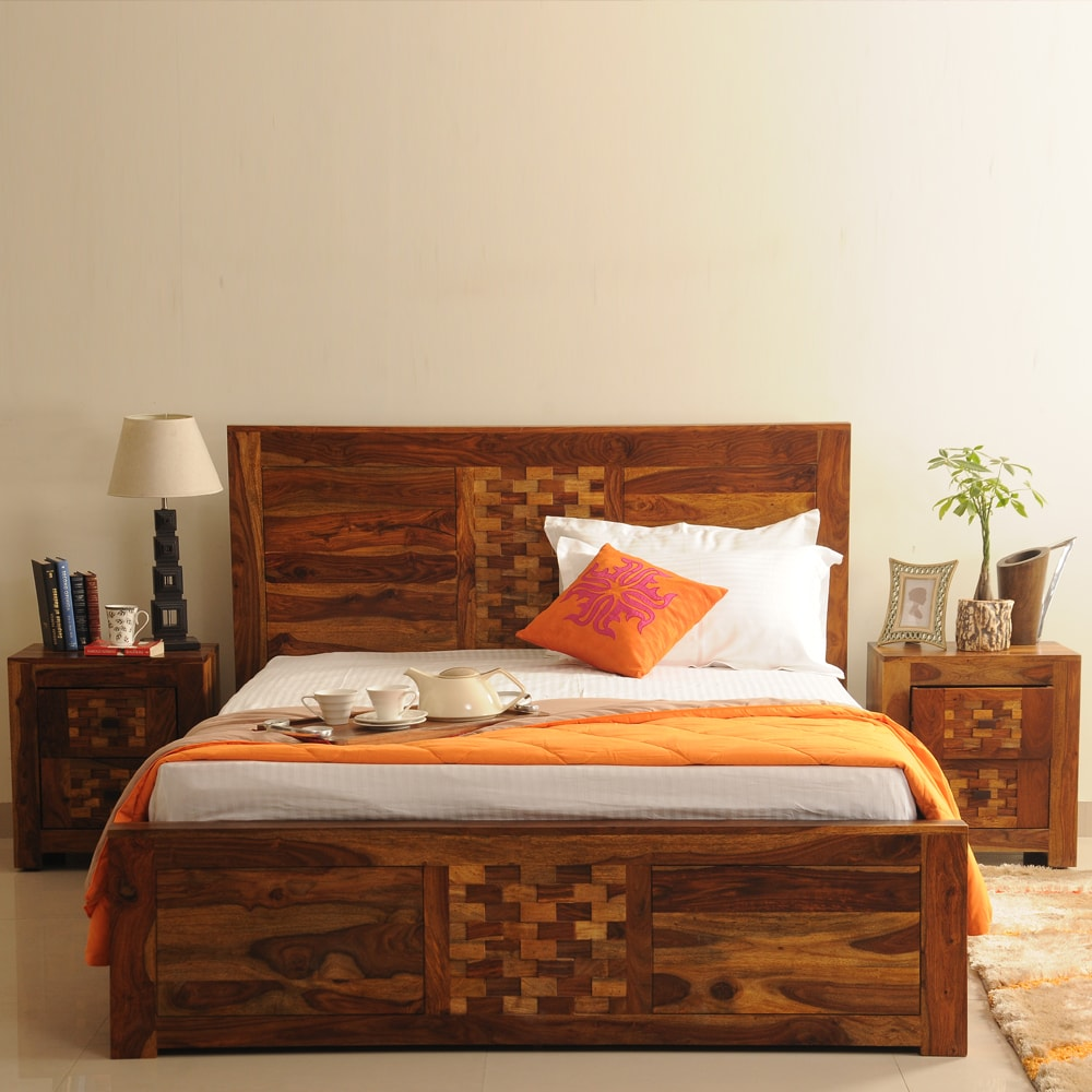 Image of: Nice Solid Wood Storage Bed