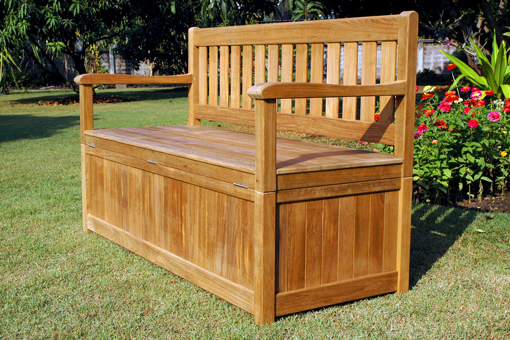 Picture of: Outside Wooden Bench with Storage