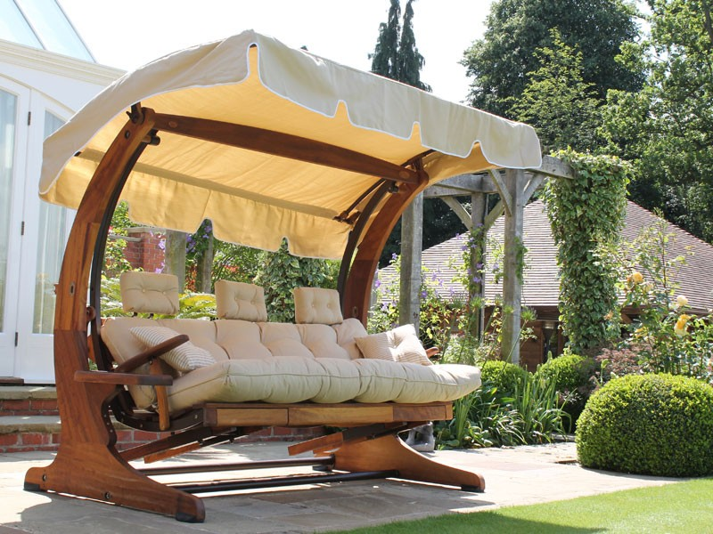 Picture of: Padded Wooden Swing Bench