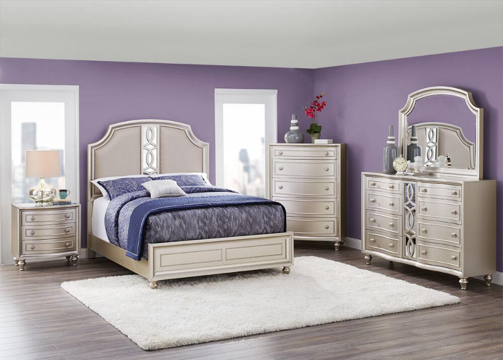 Picture of: Platinum Bedroom Set and Purple Wall