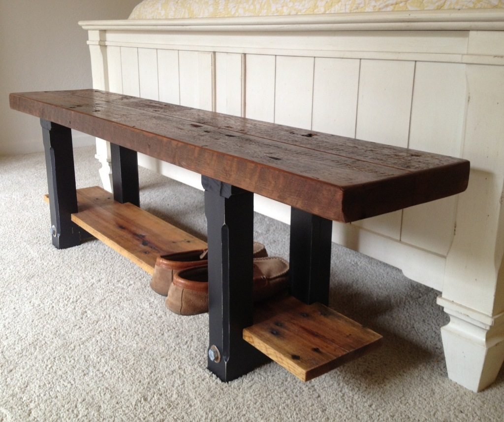 Picture of: Rectangle Small Wooden Bench with Shelf