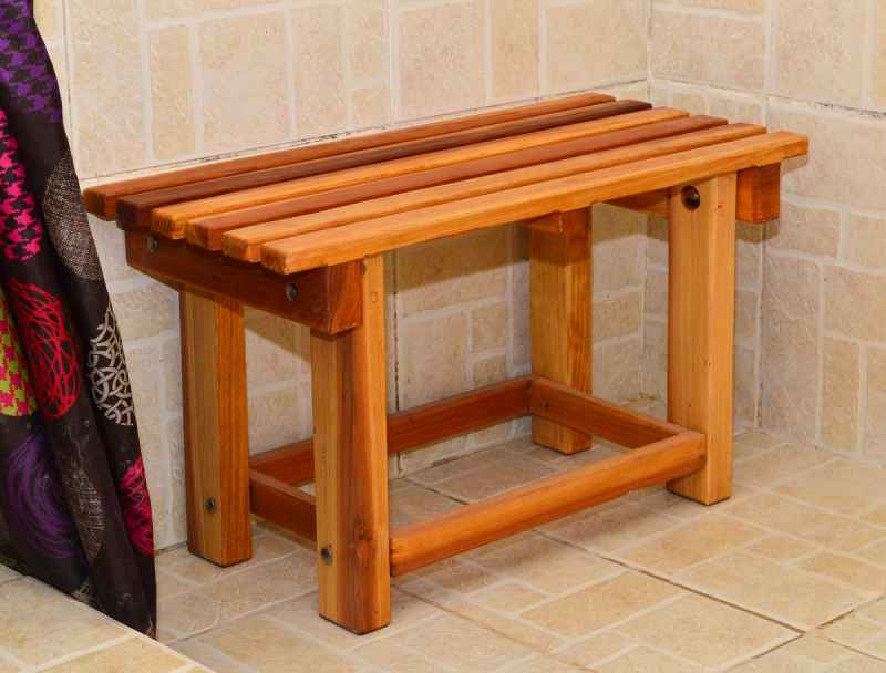Redwood Wooden Shower Bench