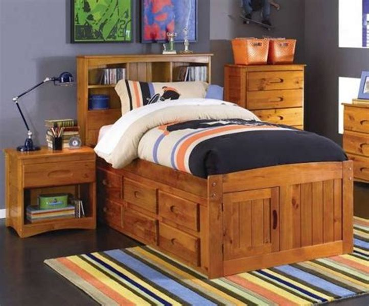 Ridgeline Full Size Bookcase Captains Bed With Storage