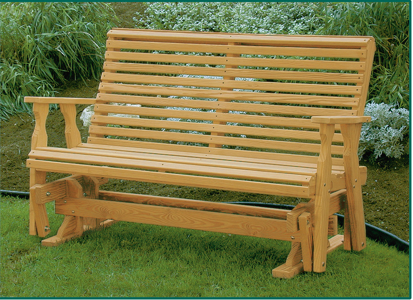 Picture of: Roll Back Wooden Glider Bench