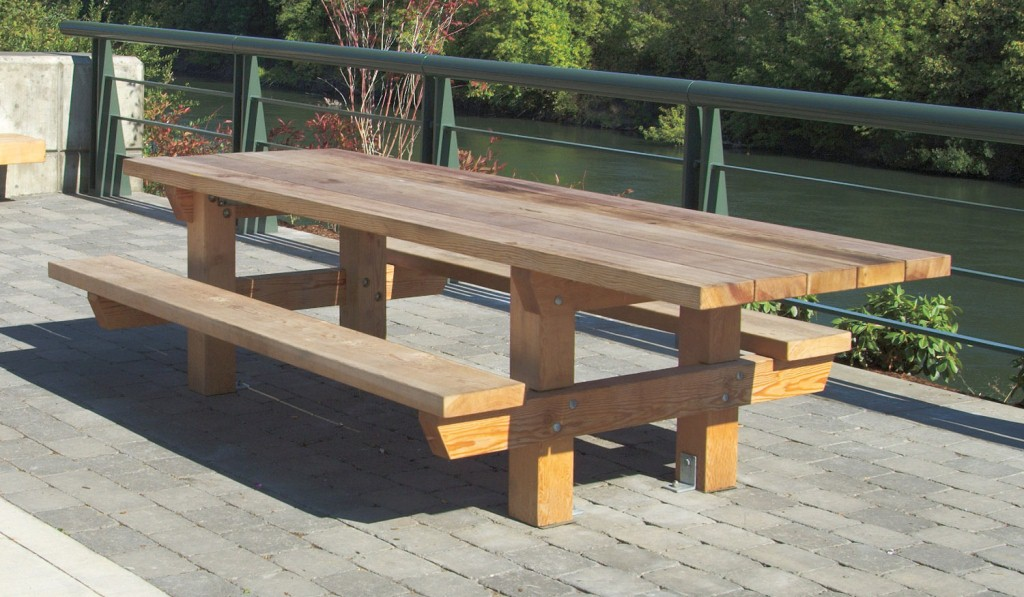 Picture of: Rustic Wooden Picnic Bench