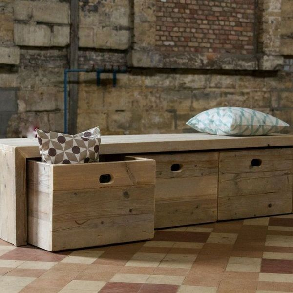 Picture of: Rustic Wooden Storage Bench