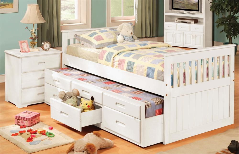Simple Twin Trundle Bed with Storage