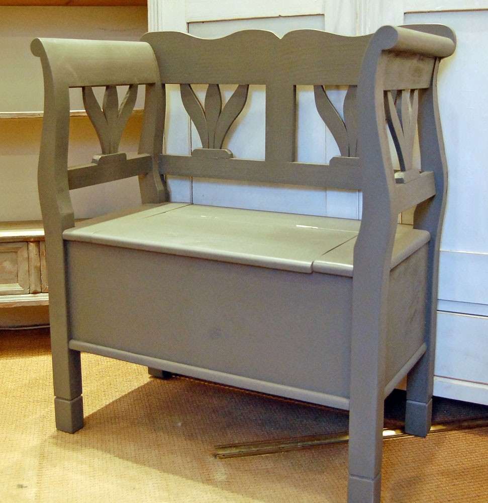 Picture of: Small Wooden Bench with Back and Arm