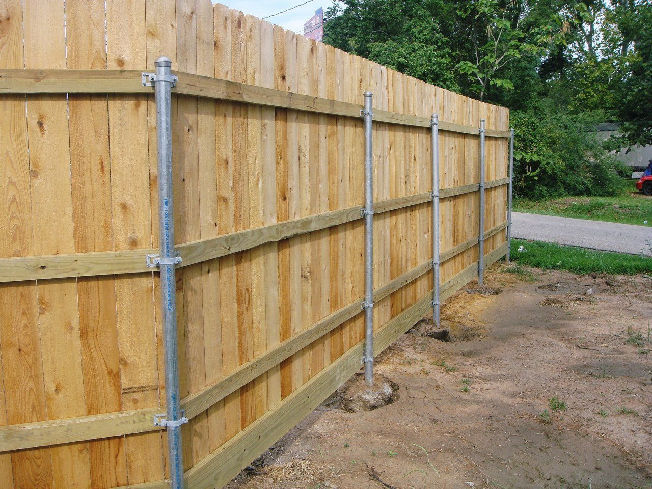 Picture of: Steel Post for Wood Fence Design
