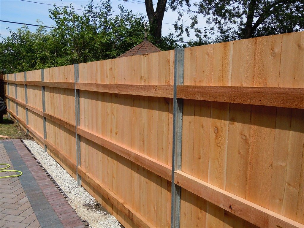 Picture of: Steel Post for Wood Fence Idea