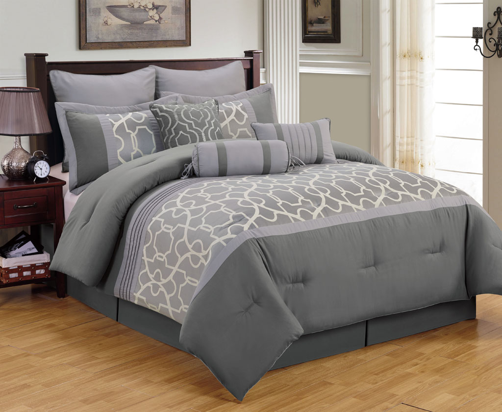 Image of: Stylish Grey Comforter Sets King