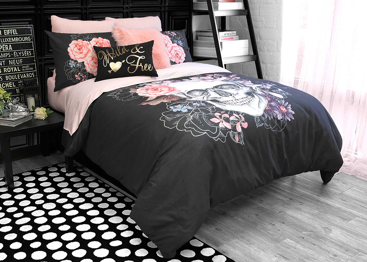 Sugar Skull Bed Set Black
