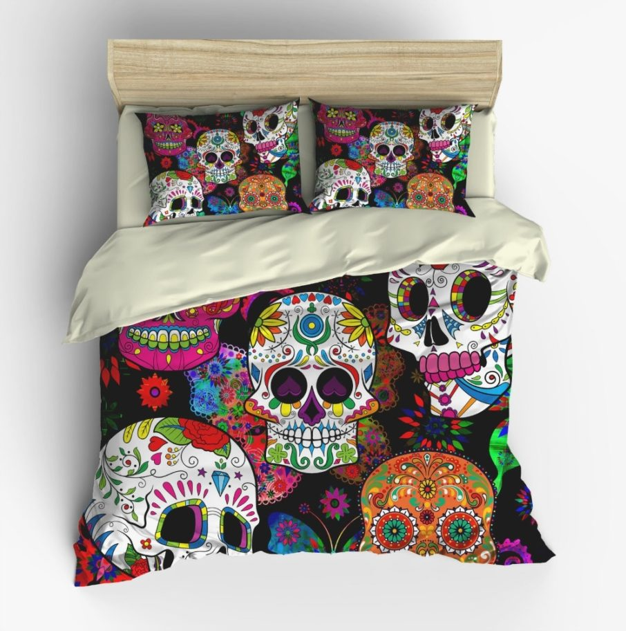 Picture of: Sugar Skull Bed Set Colorful