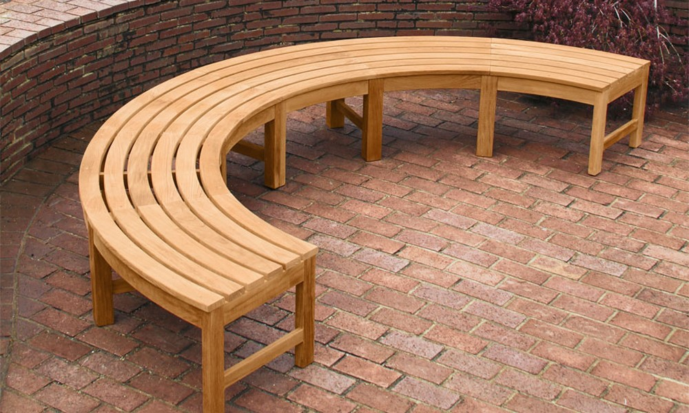 Picture of: Teak Curved Wooden Bench