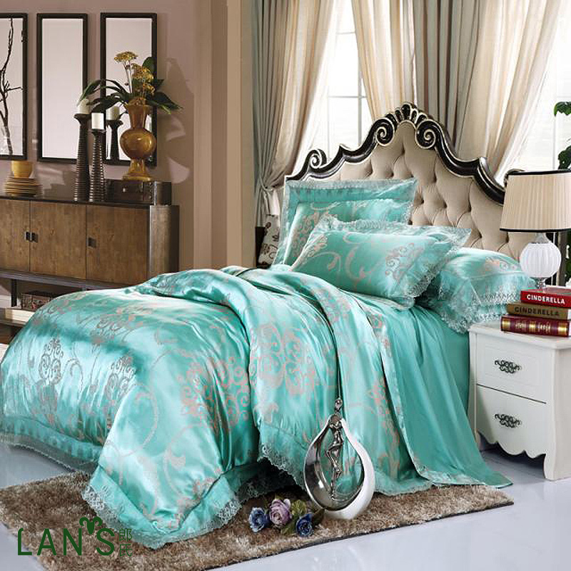 Picture of: Teal Bedding Sets Queen Silk