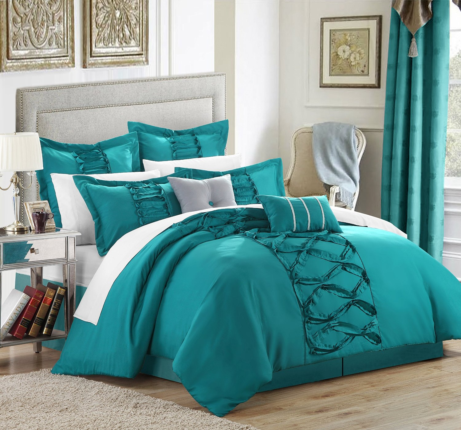 Picture of: Teal Bedding Sets Queen and Curtain