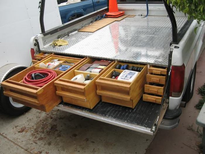 Image of: Truck Bed Storage Drawers Wood