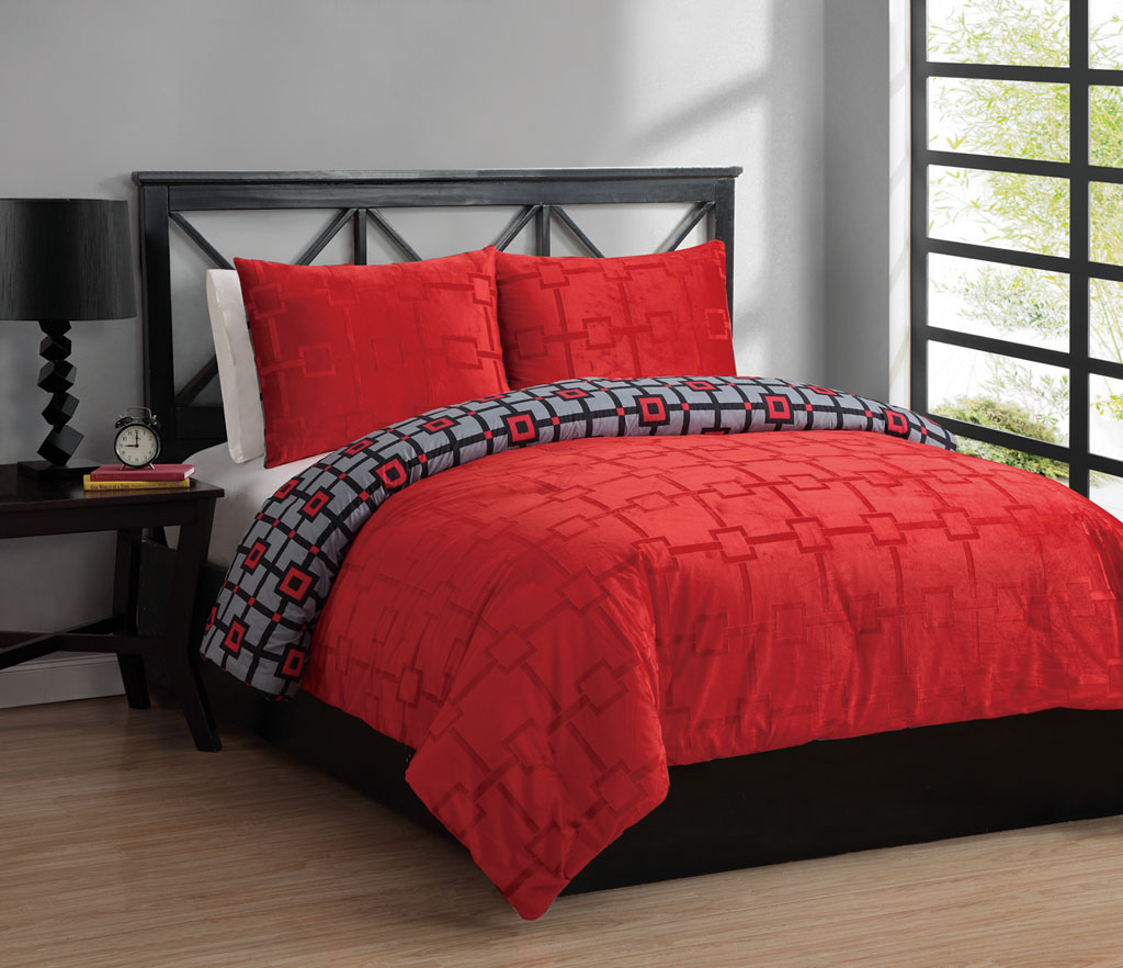 Twin Red And Gray Comforter Sets