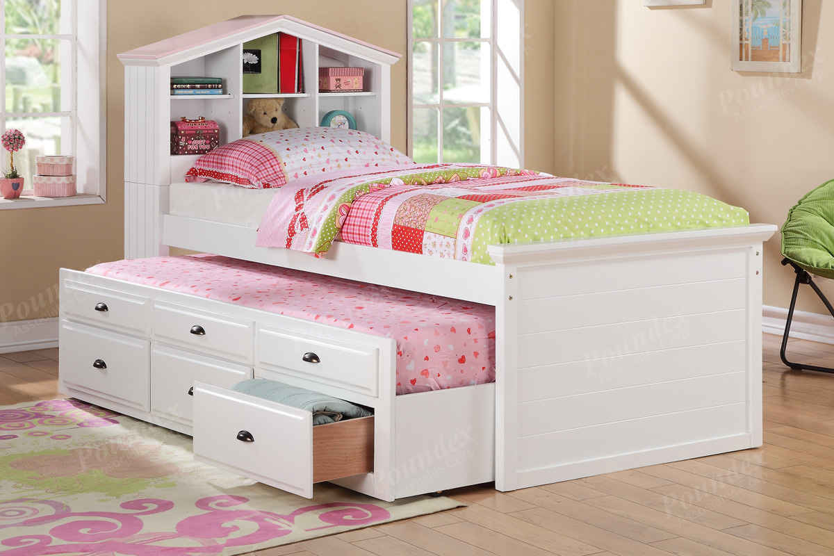 Image of: Twin Trundle Bed with Storage for Girl
