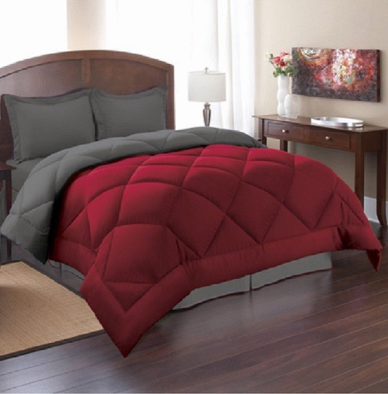 Unusual Red And Gray Comforter Sets