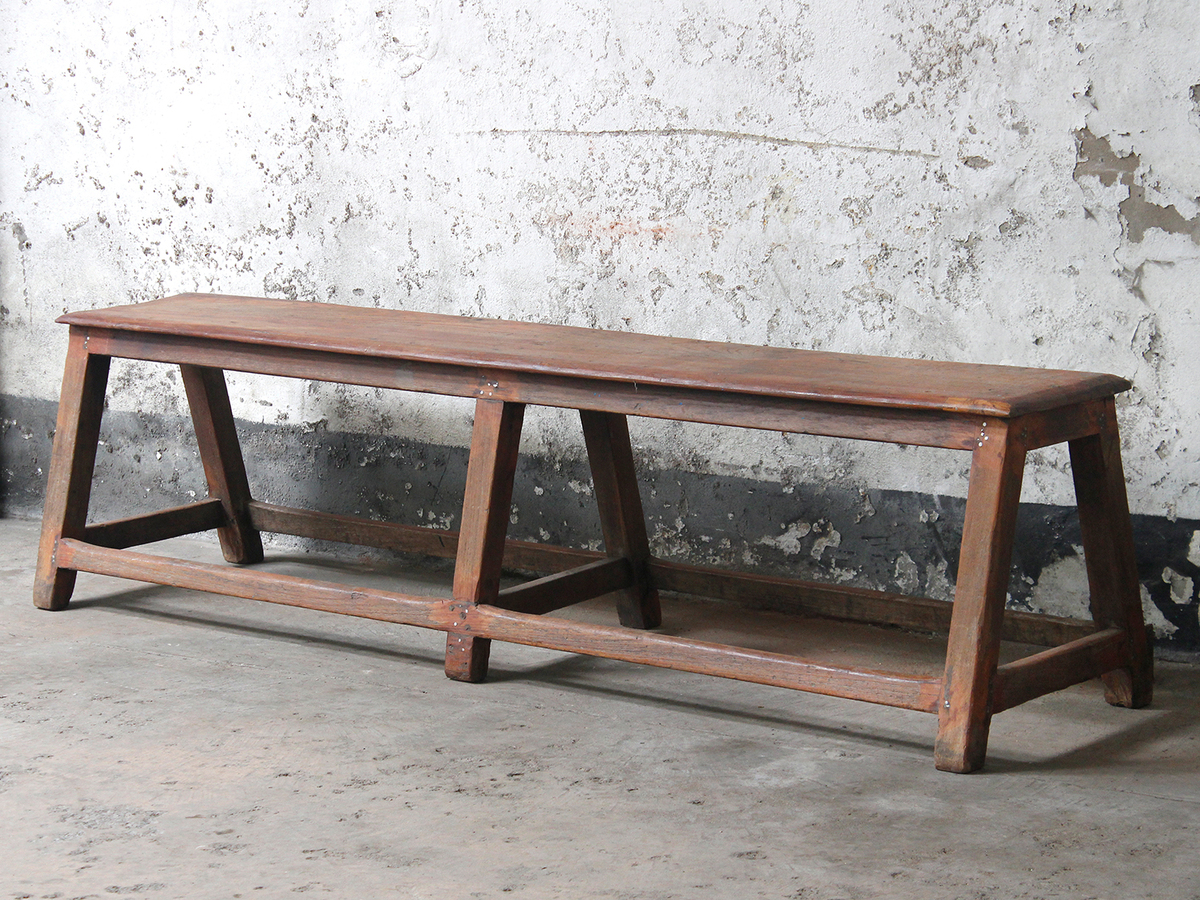 Image of: Vintage Wooden Bench Long