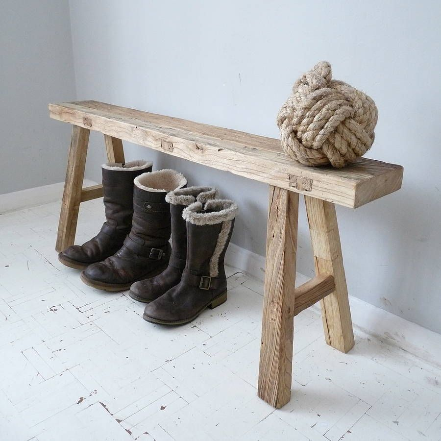 Image of: Vintage Wooden Bench Oak